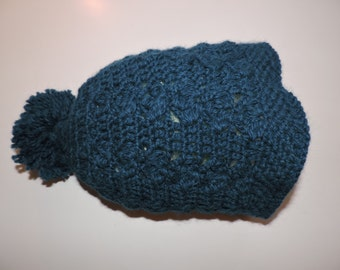 Blue bonnet with lace alpaca and wool with double pompom