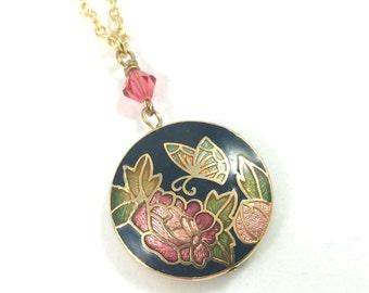 Cloisonné Necklace, Enamel Pendant Necklace Gold Flower Necklace Cloisonné Jewelry Floral Jewelry Vintage Jewelry Unique Necklaces for Women