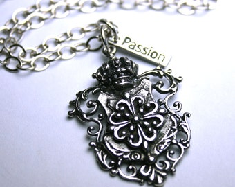 The Shamrock Coat of Arms Necklace - All Sterling Silver Clover Shield Pendant - Adjustable Chain