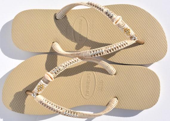 cc64469e92b ... Bohemian Flip Boho Sandals Beach Gold Sandals Sandals Hippie Beaded  Flip Flops Sandals Flops Decorated Havaianas ...