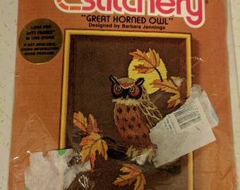 "Sunset Designs #480 Jiffy Stitchery Great Horned Owl Crewel Kit Barbara Jennings Design 5"" x 7"" w/ Thread & Printed Canvas"