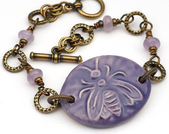 Purple bee bracelet, antiqued brass, boho style, amethyst beads, 7 1/2 inches long, Laurel Moon Jewelry