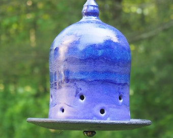 Ceramic bird feeder, hanging feeder, birds, father gift, black oil sunflower seed, feeder for backyard birds