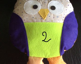 Multicolored OWL plush and felt and cotton