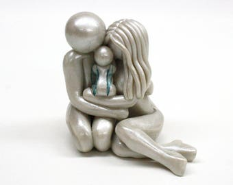 Bespoke Memorial Statue for Pregnancy, Infant and Child Loss - Parents and Angel Baby clay sculpture - heartfelt keepsake - made to order