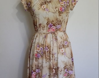 Pastel dress, S, M, Japanese dress, peach dress, summer dress, beige floral dress, 70's pastel floral dress