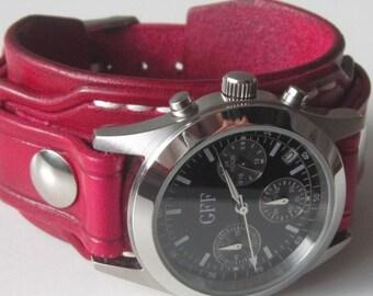 Leder Damen Uhr Manschette rot, Armbanduhr, rotem Lederarmbanduhr