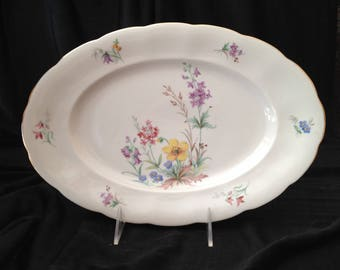 """CWH1 by Crown Heiden Bavaria Porcelain 12"""" Oval Serving Platter with Scalloped Edge & Gold Rim - Made in Bavaria Germany"""