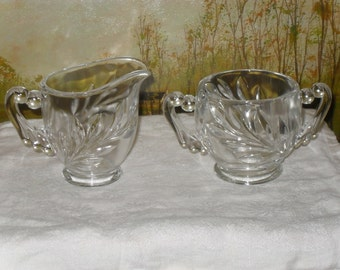 Art Deco style pressed glass wheat or leaf pattern cream and sugar
