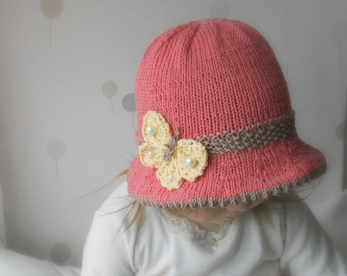 KNITTING PATTERN brim sun hat Mary with a butterfly (baby, toddler, child, woman sizes)