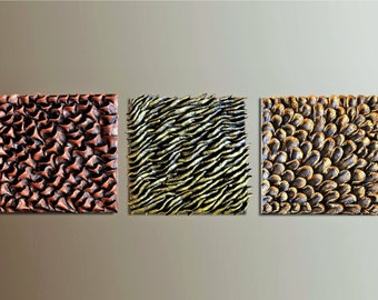 Set of 3 Wood Wall Tiles - Wall Sculptures - Textured Wall Decor - Wood Wall Decor - Wall Hangings - Triptych wall art - Wall Installation