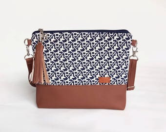 Blue Tribal Crossbody bag for women Mothers Day Gift Faux Leather Purse Small Every day Bag Boho Womens gift Idea Cross body Purse