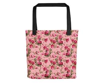 Red Rose Tote Bag | Floral Bag Boho Bag Flower Bag Pastel Grunge Bag Bohemian Bag Rose Bag Festival Bag Red Bag Shoulder Bag