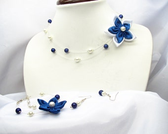 Wedding dress blue and white, flower satin and pearls, necklace bracelet earrings, made in france