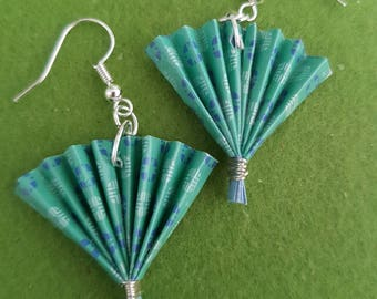 Fans, fan earrings, paper earrings, paper earrings handmade, paper fans, paper jewelry, origami earrings, origami jewelry, kitsch earrings