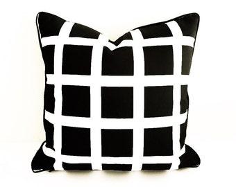 Tip-Tap-Ooh Check Cushion in Black, 45x45cm