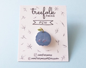Blueberry Fruit Pin - Illustrated Pin - Handmade Pin - Wearable Art - Made to Order