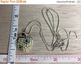 """10%OFF3DAYSALE Vintage 925 Sterling Silver 4.4g 18"""" Heart Flower Necklace Yellows Blues Czs Gently Used"""