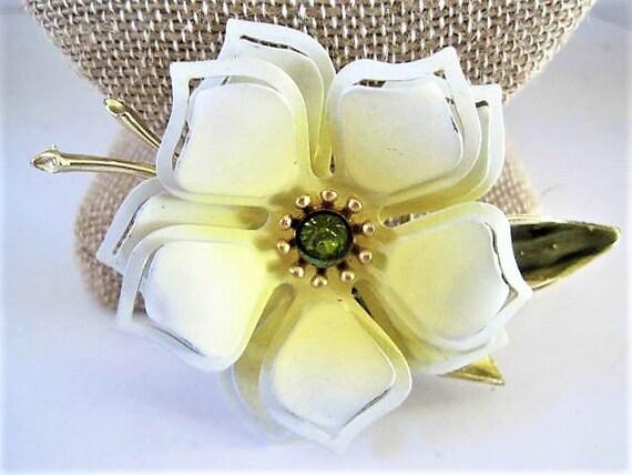 White Yellow Flower Brooch, Enamel Metal Flower,  Green Rhinestone Center, Bridal Bouquet Pin