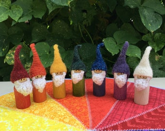 Days of the Week Rainbow Pegdoll Gnomes - Waldorf