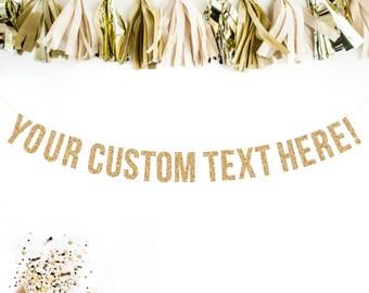 Custom Gold Glitter Garland Custom Adult Birthday Custom Banner Hashtag Banner Wedding Banner, Wedding Hashtag Banner, Gold Glitter Letters