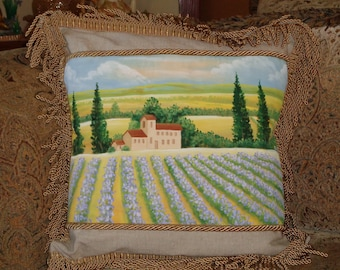 Tuscan Lavender Field Hand Painted Decorative Pillow