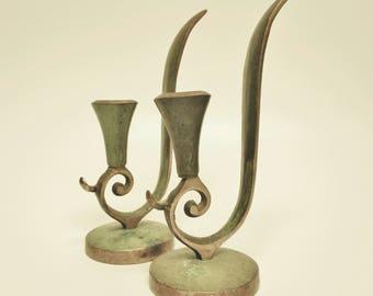 Vintage Candle Holder Pair, Brass Candle Holders, Candle Holders, Primitive Candle Holders, Country Farmhouse Decor