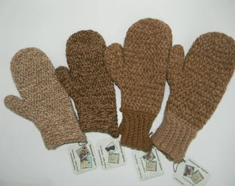 SALE - 100% Alpaca Mittens - Warm, Soft and Luxurious - Tweed Tan and Brown - Alpacas Raised on our Farm