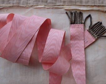 19th Century antique pink silk moire ribbon belt real silver tassel fringe passementerie costume, mixed media, jewellery, home decor, tassle
