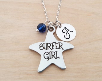 Surfer Girl Necklace - Beach Necklace - Personalized Initial Necklace - Sterling Silver Necklace - Swarovski Birthstone Necklace - Gift Idea