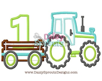 Tractor Pulling Number 1 - Machine Applique - Instant Download