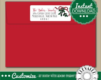 EDITABLE Return ADDRESS LABEL Template,Envelope Addressing,Christmas,Holly, Mistletoe,Return Address,Envelope Addressing,Instant Download