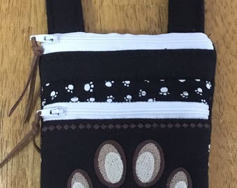 Embroidered dog purse (choose your breed).  Smart phone  padded pouch, coin purse hipster with two zippers.