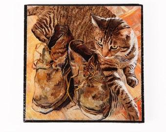 Tabby Cat  Refrigerator Magnet, Stocking Stuffer Cat Gift, Vincent Van Gogh, Fridge Magnets, Kitchen Magnets, Deborah Julian