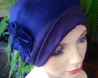 womens winter hat lightweight dark purple chemo hat soft hat headcover poppett hat