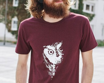 Owl Fair Trade / Organic Men Shirt_ dark red