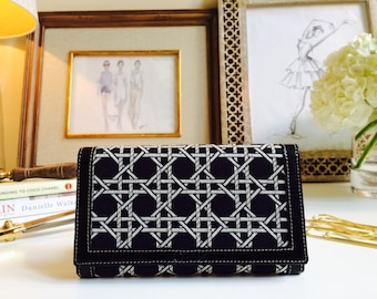Black Leather Wallet//Credit Card Holder//Clutch//Fabric Wallet//Gift for Mom//Women's Leather Wallet