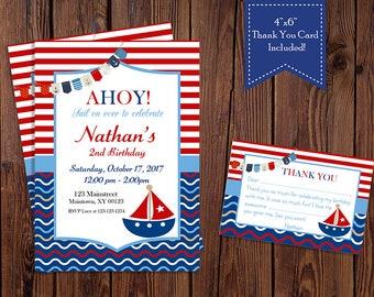 Nautica, Sailboat, Ahoy, Sail Away Birthday Invitation Set-Digital