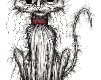 Tiddles the cat Print A4 size picture Very nasty scruffy shabby pet puss kitty moggie with miserable face in grumpy mood wearing red collar