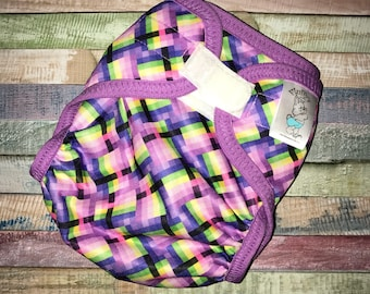 Pastel Geometric Polyester PUL Cloth Diaper Cover With Aplix Hook&Loop Or Snaps You Pick Size XS/Newborn, Small, Medium, Large, or One Size