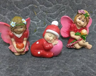 Valentine Fairies and Napping Baby with Love in the  Miniature Fairy Garden