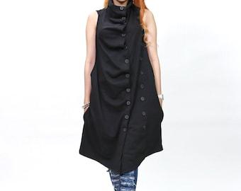 Sleeveless Double Breasted Vest - Cardigan - Black - idea2love