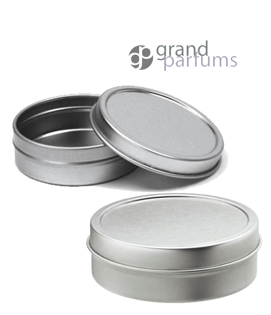 6 Shallow SILVER 2 Oz Tins 60ml Aluminum Metal Cosmetic Jar