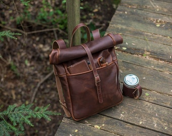 Leather Backpack - Roll Top Backpack Rucksack
