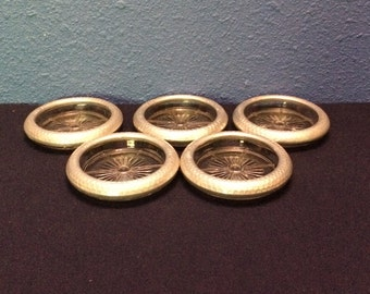 Vintage Hammered Aluminum and Glass Coasters, Set of Five