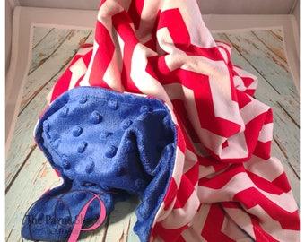 Personalized Chevron Minky Baby Blanket