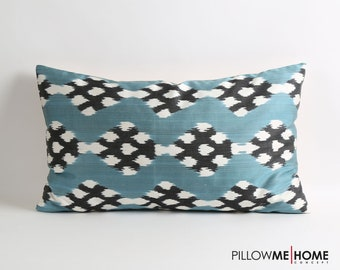 Silk ikat pillow cover 16x26 inches