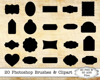 PHOTOSHOP BRUSHES, 20 Tags/Frames, ABR Files, Clipart Shape Brushes & Png Files