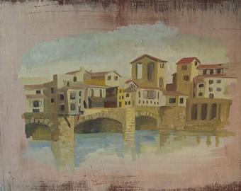 A town on the coast. Pine boards, oil paints. Original oil painting. 59 x 80 x 2cm  3,8kg
