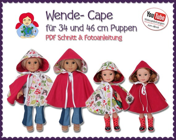 American Girl & Wellie Wisher Cape Schnitt PDF Sami Dolls